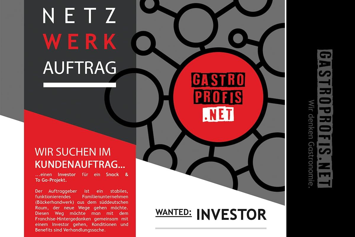 Wir suchen im Kundenauftrag nach einem INVESTOR für ein innovatives SNACK & TO GO-PROJEKT in Deutschland und Österreich. Details werden natürlich hier nicht verraten, aber es wird was GROSSARTIGES. Auch über Immobilienangebote (Pacht) für den geplanten ersten Standort SALZBURG freuen wir uns. Alle Kontaktdaten wie immer unter https://gastroprofis.net/kontakt!